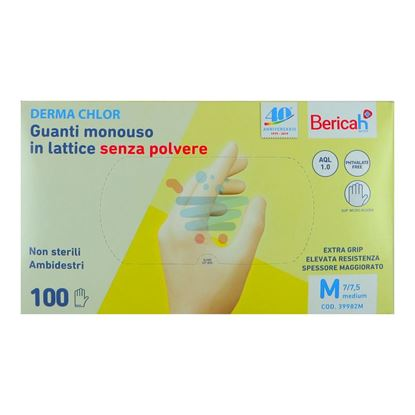 BERICAH DERMA CHLOR GUANTI LATTICE S/POLV. 100PZ M