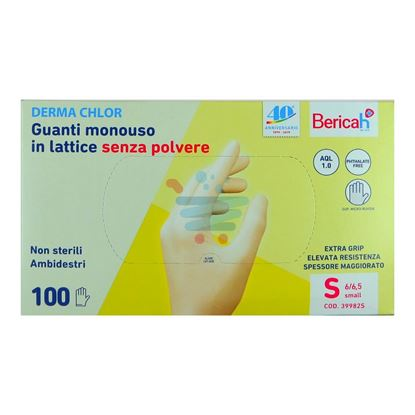 BERICAH DERMA CHLOR GUANTI LATTICE S/POLV. 100PZ S