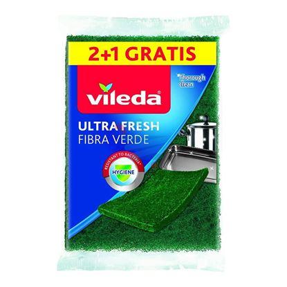 VILEDA SPUGNA ULTRA FRESH FIBRA VERDE 3 PEZZI