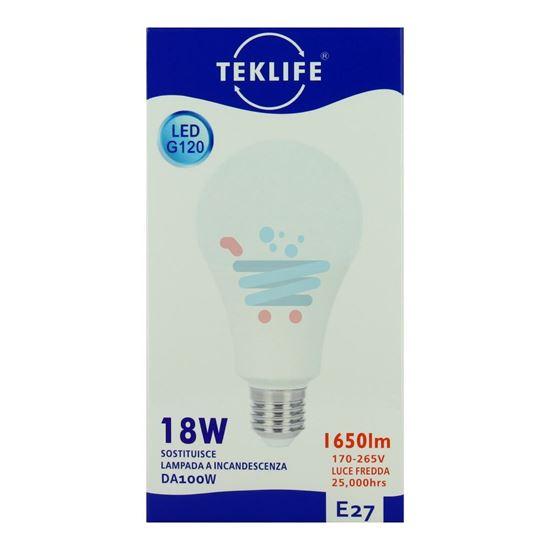 TEKLIFE LAMPADA LED SFERA 18W E27 LUCE FREDDA