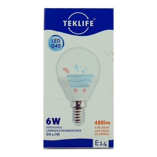 TEKLIFE LAMPADINA LED SFERA 6W E14 LUCE CALDA