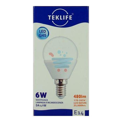 TEKLIFE LAMPADINA LED SFERA 6W E14 LUCE NATURALE