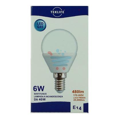 TEKLIFE LAMPADINA LED SFERA 6W E14 LUCE FREDDA
