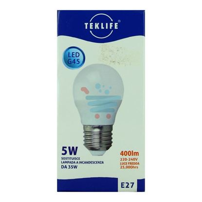 TEKLIFE LAMPADINA MINI SFERA LED 5W E27 LUCE FREDDA