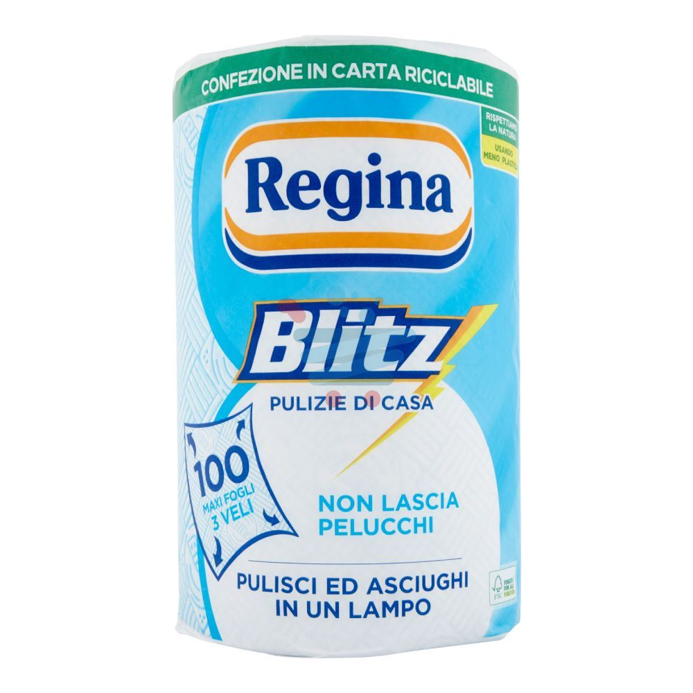 Regina Blitz Carta Cucina 3 Veli Rotolo 100 Strappi Carollo Detersivi Srl Palermo