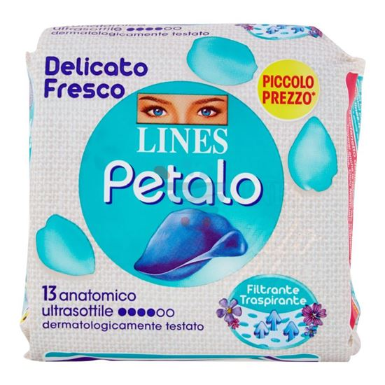 LINES ASSORBENTE PETALO BLU ANATOMICO 13 PEZZI