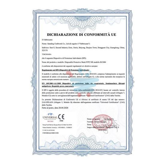 MASCHERINA FFP2 KN95 AD-1001 MINIMO 40 PEZZI