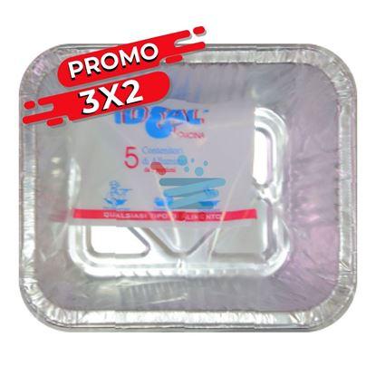 PROMO 3X2 IDEAL CONTENITORE IN ALLUMINIO 1 PORZIONE SENZA COPERCHIO 5 PZ