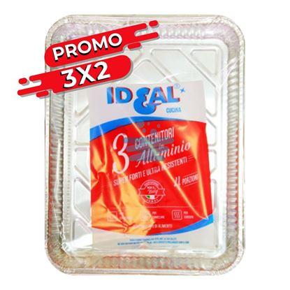 PROMO 3X2 IDEAL CONTENITORE IN ALLUMINIO 4 PORZIONI SENZA COPERCHIO 3 PZ